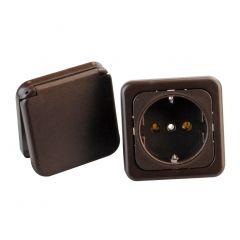 Prise 220V encastrable marron + couvercle